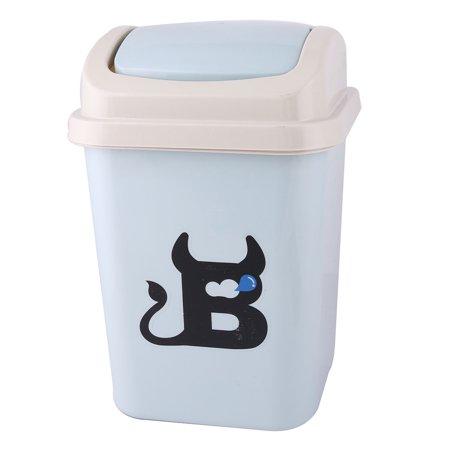 Home bathroom plastic roll swing lid wastebasket garbage trash can dustbin blue Lidded trash can for bathroom