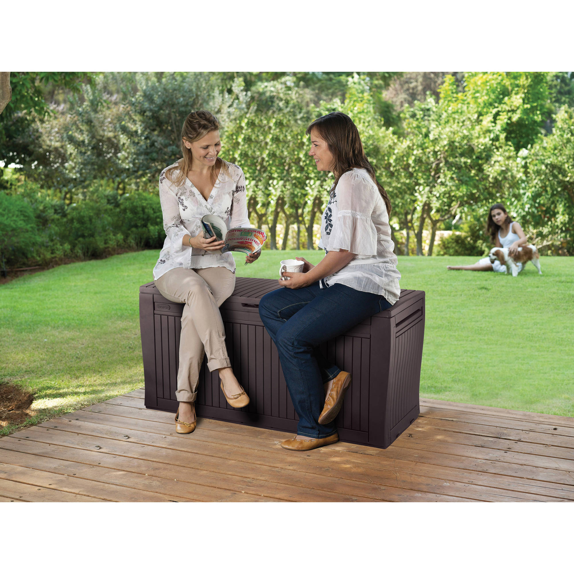 c07fa272f Keter Comfy 71-Gal Outdoor Deck Box, Espresso Brown - Walmart.com
