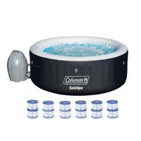 Coleman SaluSpa 4 Person Inflatable Outdoor Spa Hot Tub + 12 Cartridge Refills