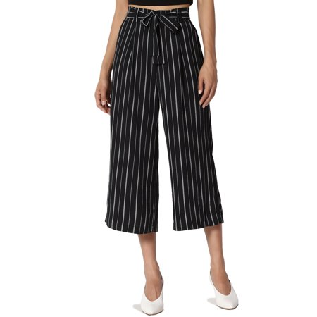 TheMogan Junior's Tie Front Stripe Elastic Back High Waist Wide leg Crop Pants