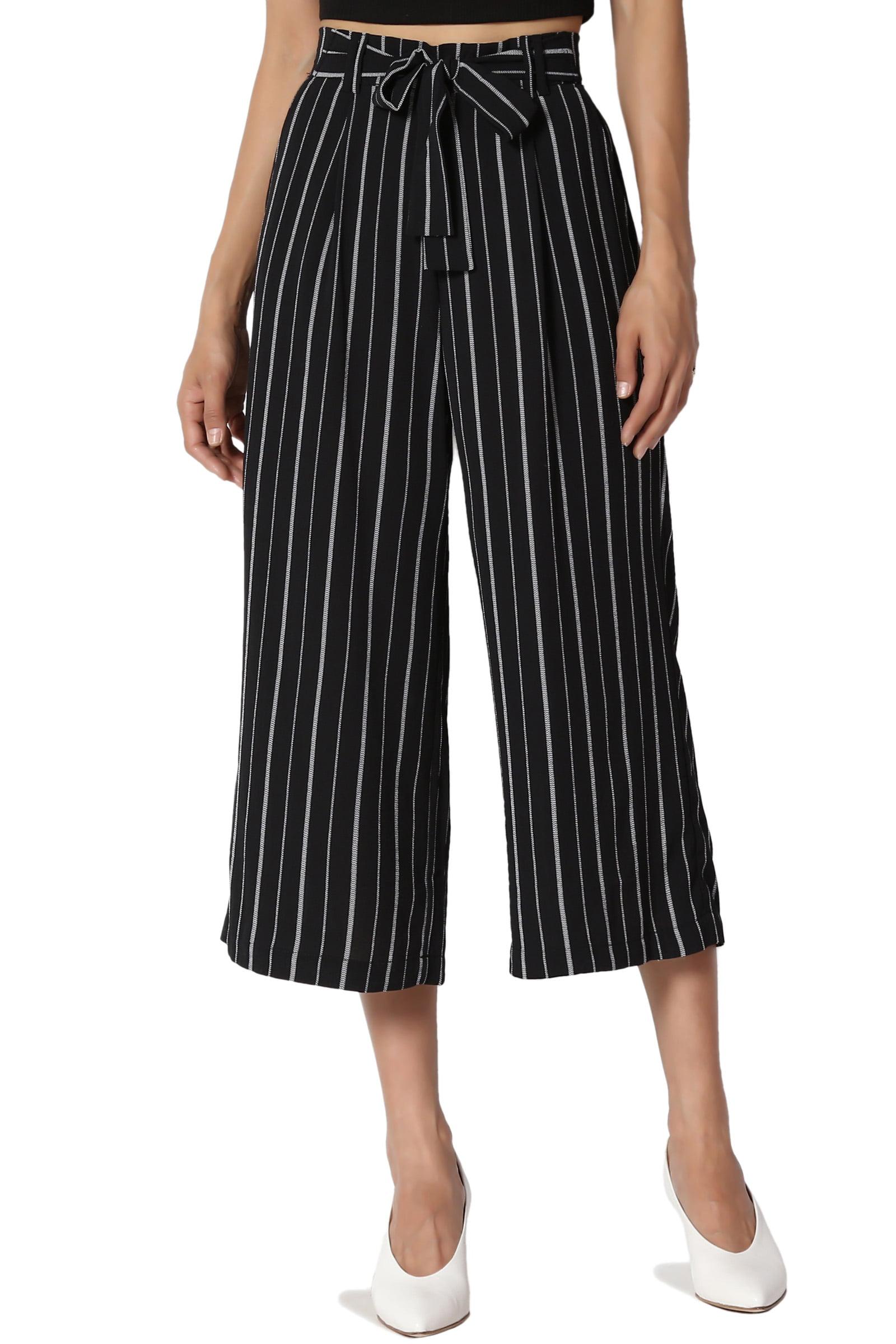 TheMogan Junior's Tie Front Stripe Elastic Back High Waist Wide leg Crop Pants
