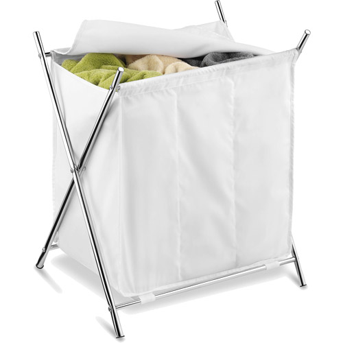 Honey Can Do Folding Hamper with 3 Sorters and Steel X-Frame, White/Chrome