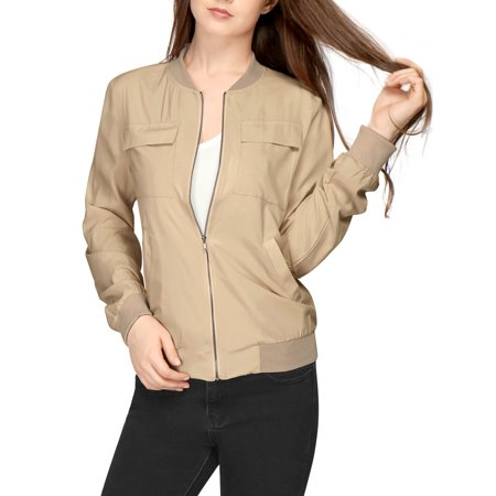 Unique Bargains Women's Zip Fastening Front Multi-Pocket Lightweight Bomber Jacket Beige (Size S / (Lightweight Zip Front Jacket)