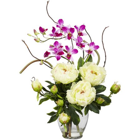 Nearly Natural Peony and Orchid Silk Flower Arrangement, White The Peony and Orchid Silk Flower Arrangement is an exquisite bouquet that projects an ideal marriage of color, design and beauty. The vibrant weaving of multiple textures and flower types creates a splendor only found in varieties. Designed to complement any season, this white flower arrangement is allergen-free and will look good in most any room of the house. The placement of this decoration can also be used to create a vivid focal point in a room. Showcasing brilliant colors in natural hues, this artificial flower arrangement comes set in a glass vase with liquid illusion faux water for added realism. Whether as a house warming gift or a decoration for your own home, this floral collection is sure to please.