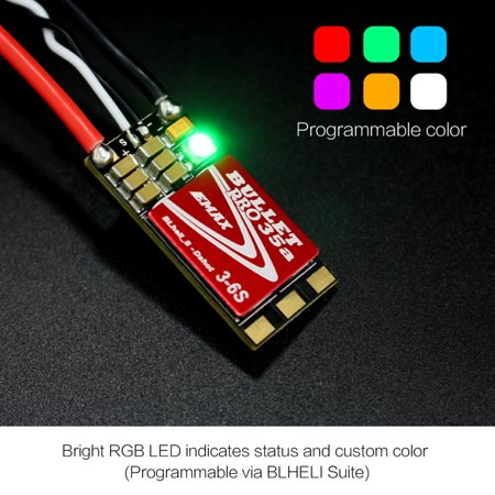 Custom Competition Bullets - 4PCS EMAX DSHOT Bullet Series 35A PRO 3-6S BLHELI_S ESC w/ RGB LED Programmable for FPV Racing Drone Competition
