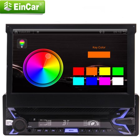 Eincar Car Stereo Single Din with 7 Inch Flip Out Touch Screen GPS Navigation free WiFi Android 9.0 Pie system Auto SD/USB for Universal Head Unit with Bluetooth WiFi USB/SD/AM/FM/MP5 Camera