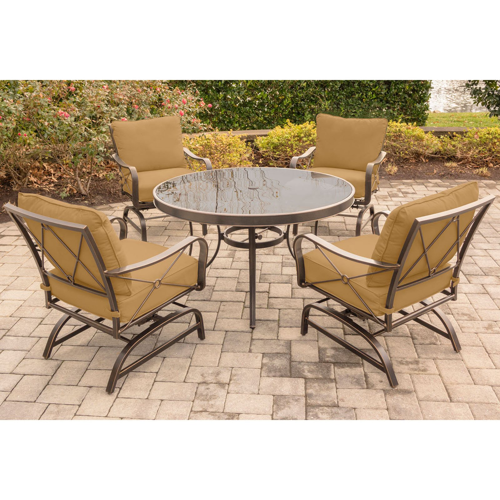 Hanover Outdoor Summer Nights 5-Piece Chat Set with Glass-Top Table and Steel-Frame Rockers, Desert Sunset