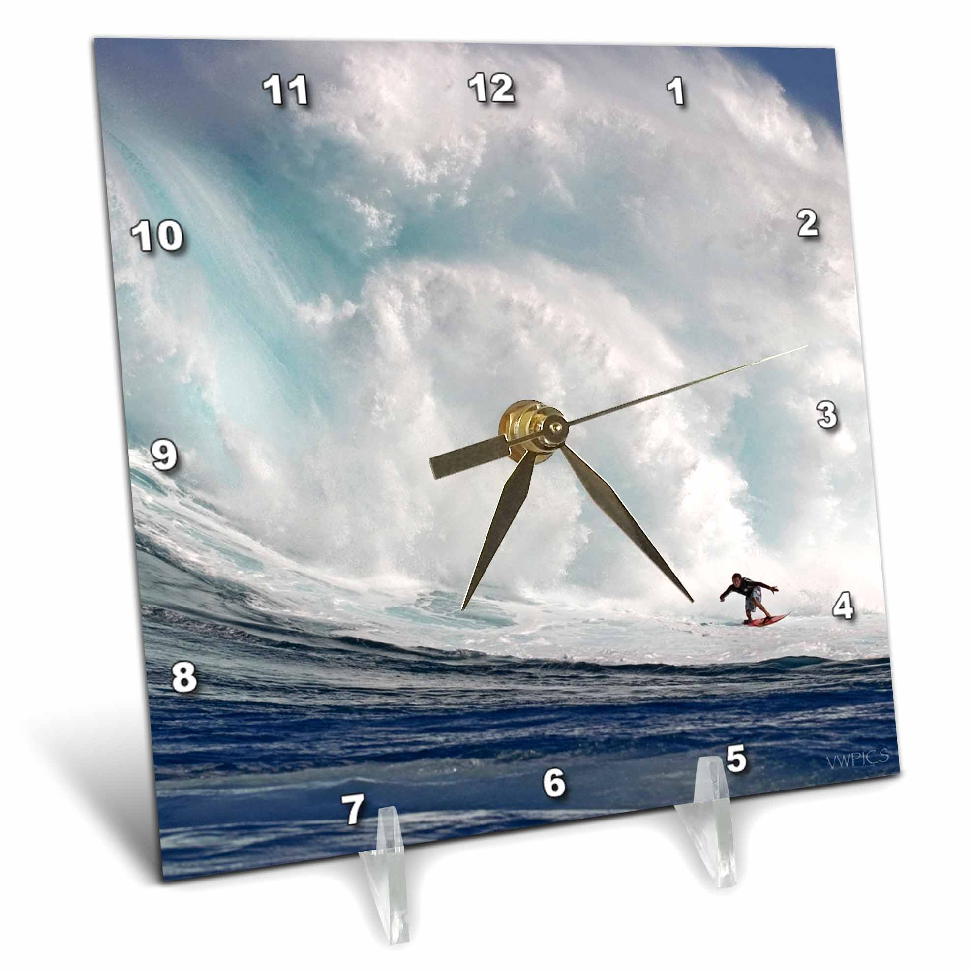 3dRose A tow-in surfer drops to the curl of Hawaiis big surf at Peahi (Jaws) off Maui, Desk Clock, 6 by 6-inch by 3dRose