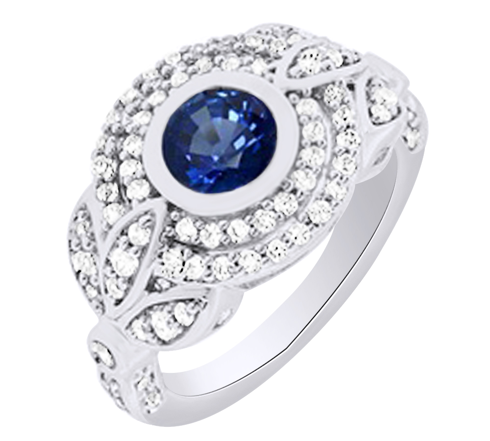 White Gold 1.7cttw Genuine Blue Sapphire and Diamond Stud Earrings
