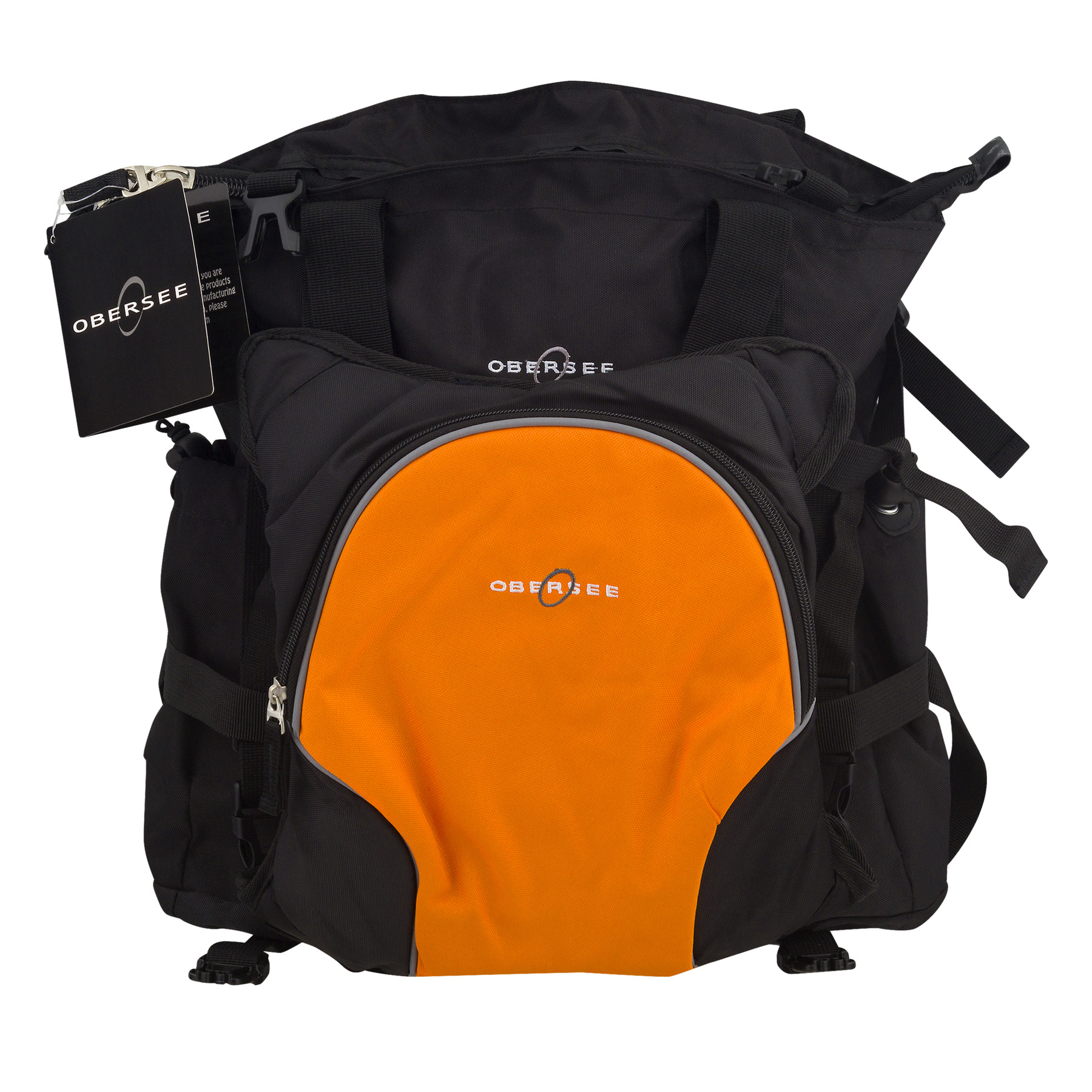 Obersee Innsbruck Diaper Bag Tote With Cooler Black/Orange, 3.0 CT
