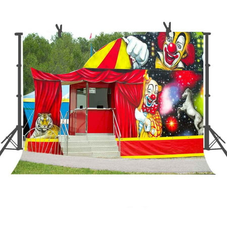 HelloDecor Polyester Fabric 7x5ft Clown Circus Photography Backdrop Studio Photo Props