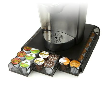 Mind Reader Anchor Triple Drawer K Cup  Dolce Gusto  Cbtl  Verismo  Single Serve Coffee Pod Holder Drawer Holds 36  Black Metal Mesh