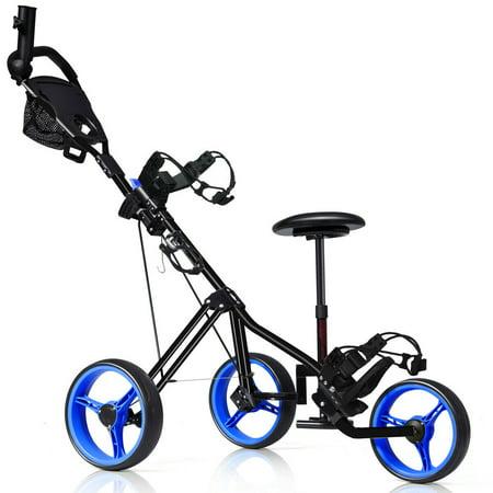 Foldable 3 Wheel Push Pull Golf Club Cart Trolley w/Seat Scoreboard Bag -