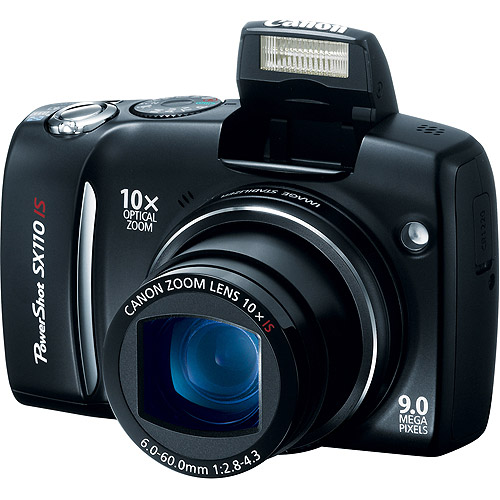 "Canon PowerShot SX110-IS Black 9MP Digital Camera w/ 10x Optical Zoom & 3"" LCD"