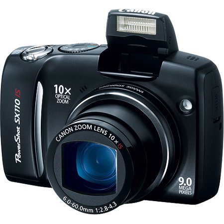 Canon PowerShot SX110-IS Black 9MP Digital Camera w/ 10x Optical Zoom & 3  LCD Canon PowerShot SX110-IS 9MP Digital Camera:9-megapixel resolutionThe Canon PowerShot SX110-IS 9MP Digital Camera delivers detailed pictures that can be enlarged up to 16  x 20  10x optical zoom lens and 4x digital zoomAllow you to frame your subjects for better results 3-inch color LCD screen The Canon PowerShot SX110-IS 9MP Digital Camera lets you compose and review your shots Optical image stabilizer and face detectionThe Canon PowerShot SX110-IS 9MP Digital Camera ensures blur-free shots and automatically sets focus, exposure and flash to make faces look more naturalAuto focus and macro focus Enable you to be more imaginative with a focus range from .39 of an inch to infinityPictBridge capabilityThe Canon PowerShot SX110-IS 9MP Digital Camera prints photos directly from a PictBridge-enable printer without using a computer20 shooting modes and 8 white balance settingsThe Canon PowerShot SX110-IS 9MP Digital Camera provides creative options for taking eye-catching photos with accurate color Four movie modesCapture videos at 15 or 30 frames per second with sound SD/SDHC/MMC/MMC+ memory card slotThe Canon PowerShot SX110-IS 9MP Digital Camera stores images on optional memory cards available in a variety of formats and capacities