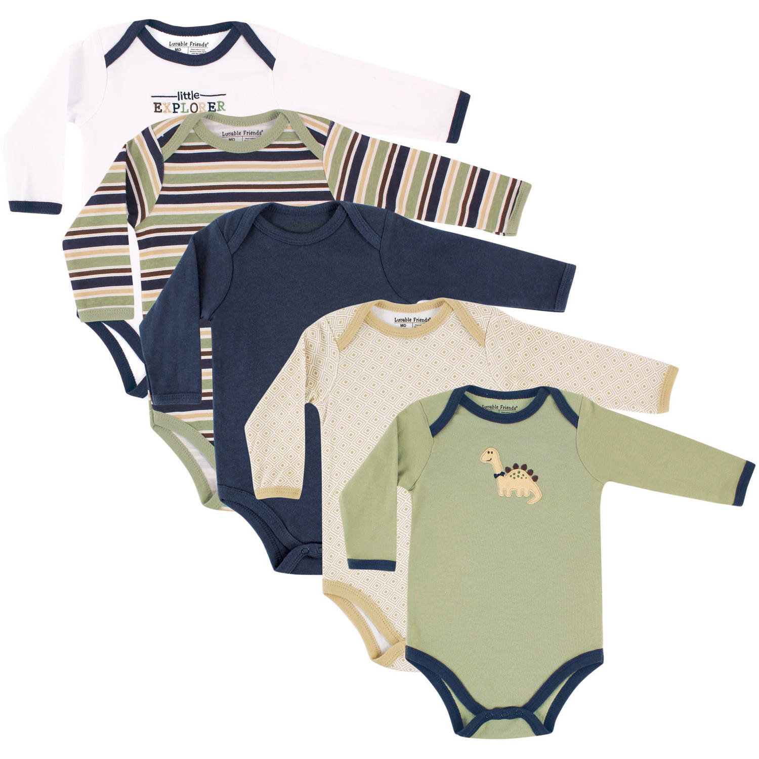 Luvable Friends Newborn Baby Boys Long Sleeve Bodysuit 5-Pack - Dinosaur