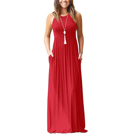 Heather Grey Racerback Tank Dress (Women's Sleeveless Racerback Loose Plain Maxi Dresses Casual Long Dresses with)