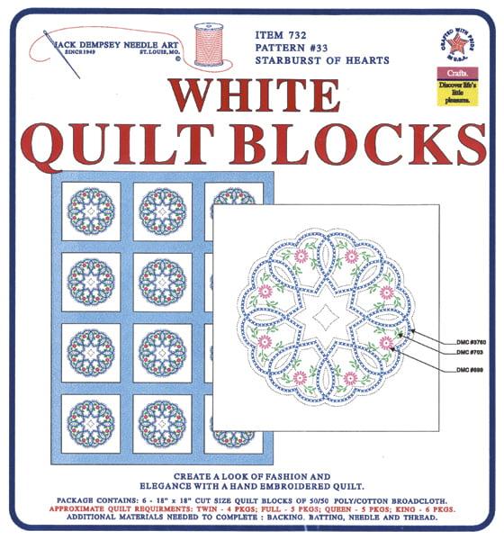 """Jack Dempsey Starburst Of Hearts Stamped White Quilt Blocks, 18"""" x 18"""""""