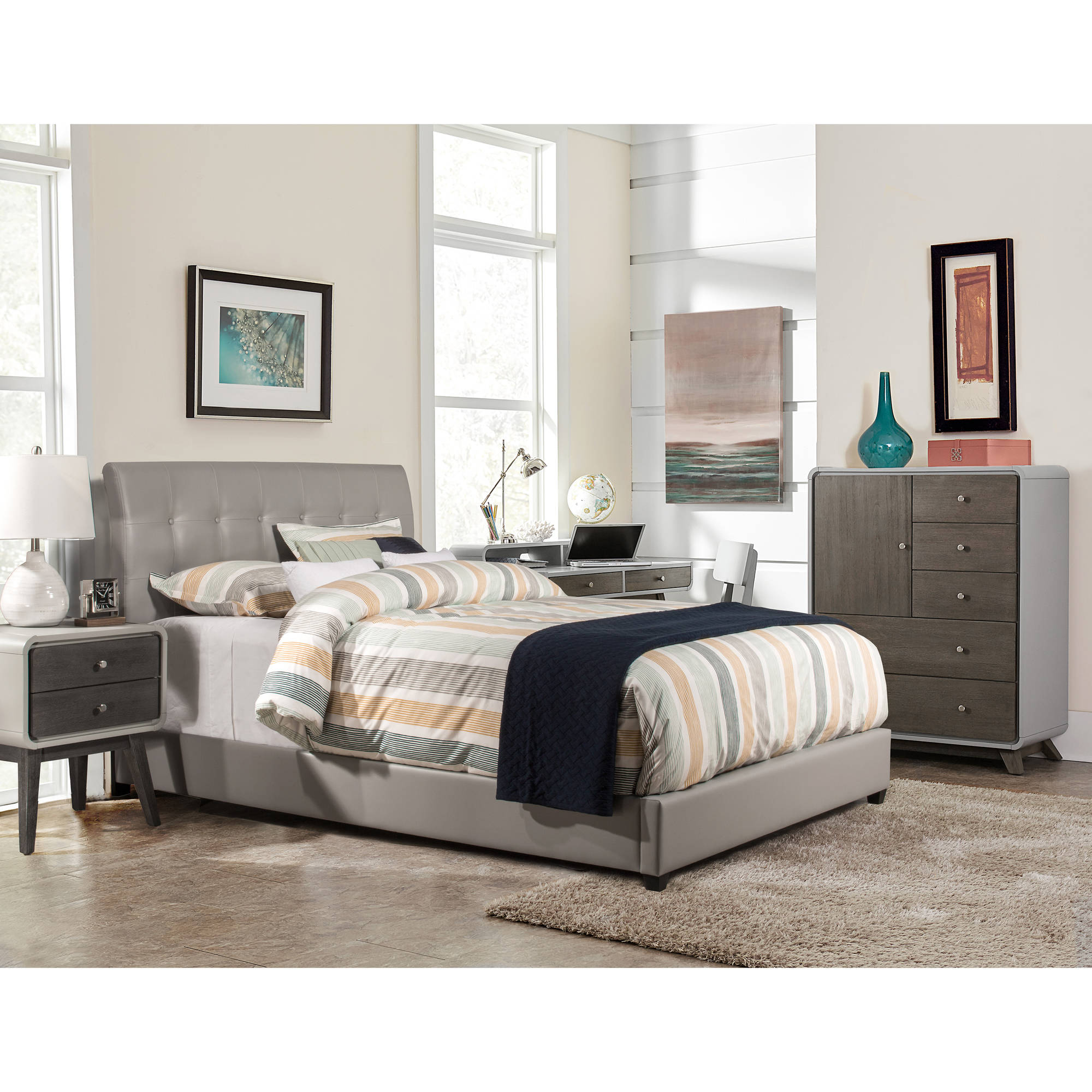 hillsdale furniture lusso king bed with bedframe grey faux leather