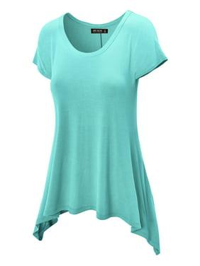 6b0a779e7e56d Product Image MBJ Womens Round Neck Short Sleeve Asymmetrical Hem Tunic Tee  ( S - XXXL )