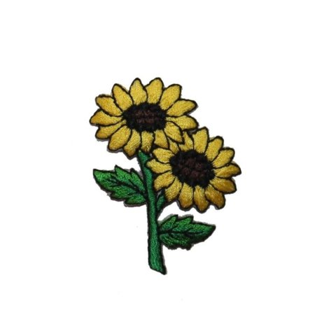ID 6027 Pair of Sunflower Patch Plant Flower Garden Embroidered Iron On Applique
