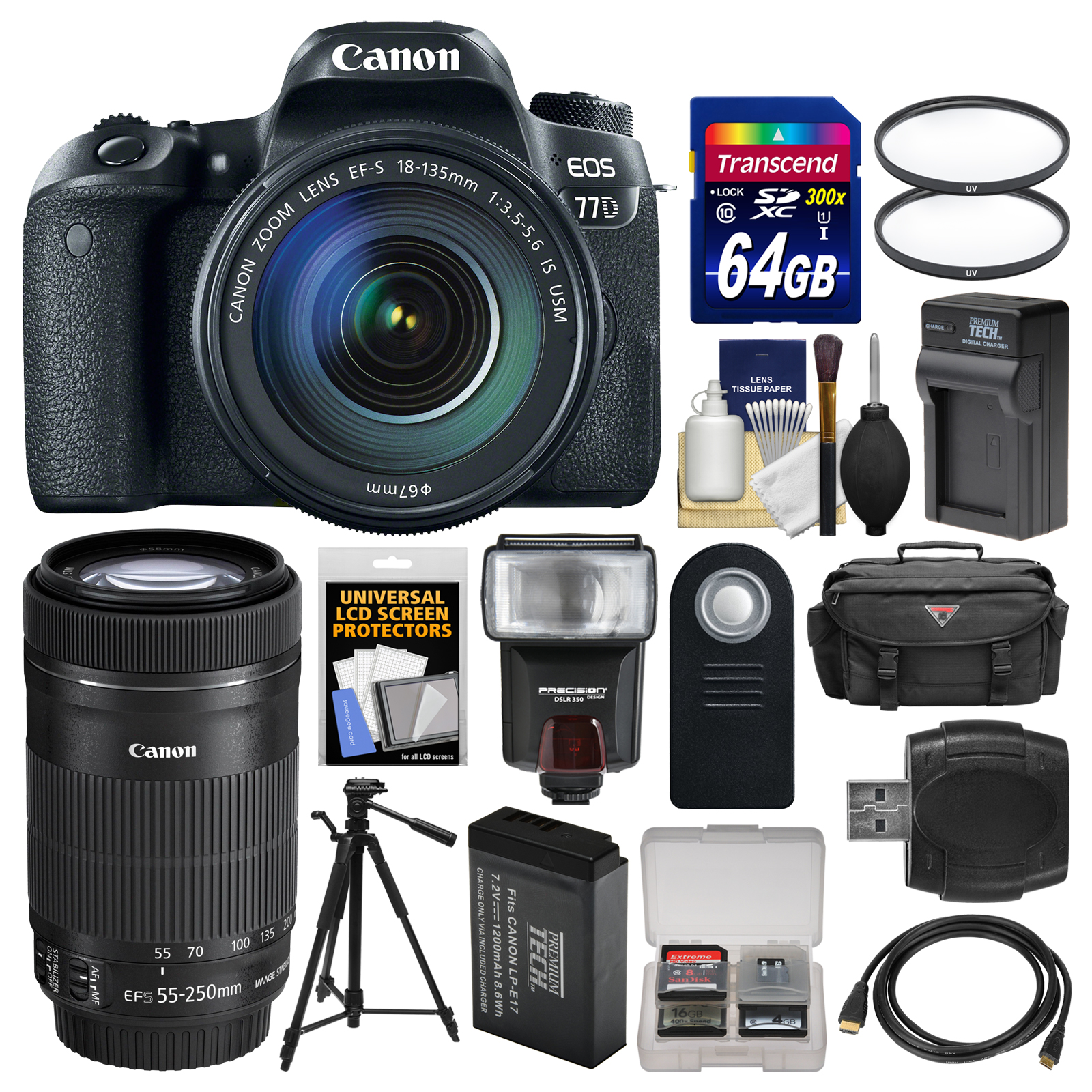 Canon EOS 77D Wi-Fi Digital SLR Camera & EF-S 18-135mm IS USM with 55-250mm Lens + 64GB Card + Case + Flash +... by Canon