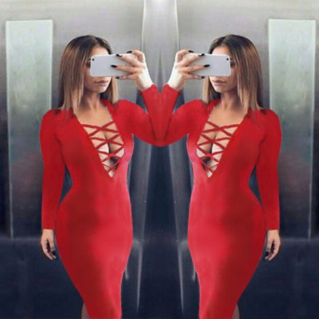 New Fashion Women Dress Plunge V Neckline Criss Cross Straps Front Long Sleeve Bodycon Fit Sexy Midi (1 Piece Front Pair Cross)