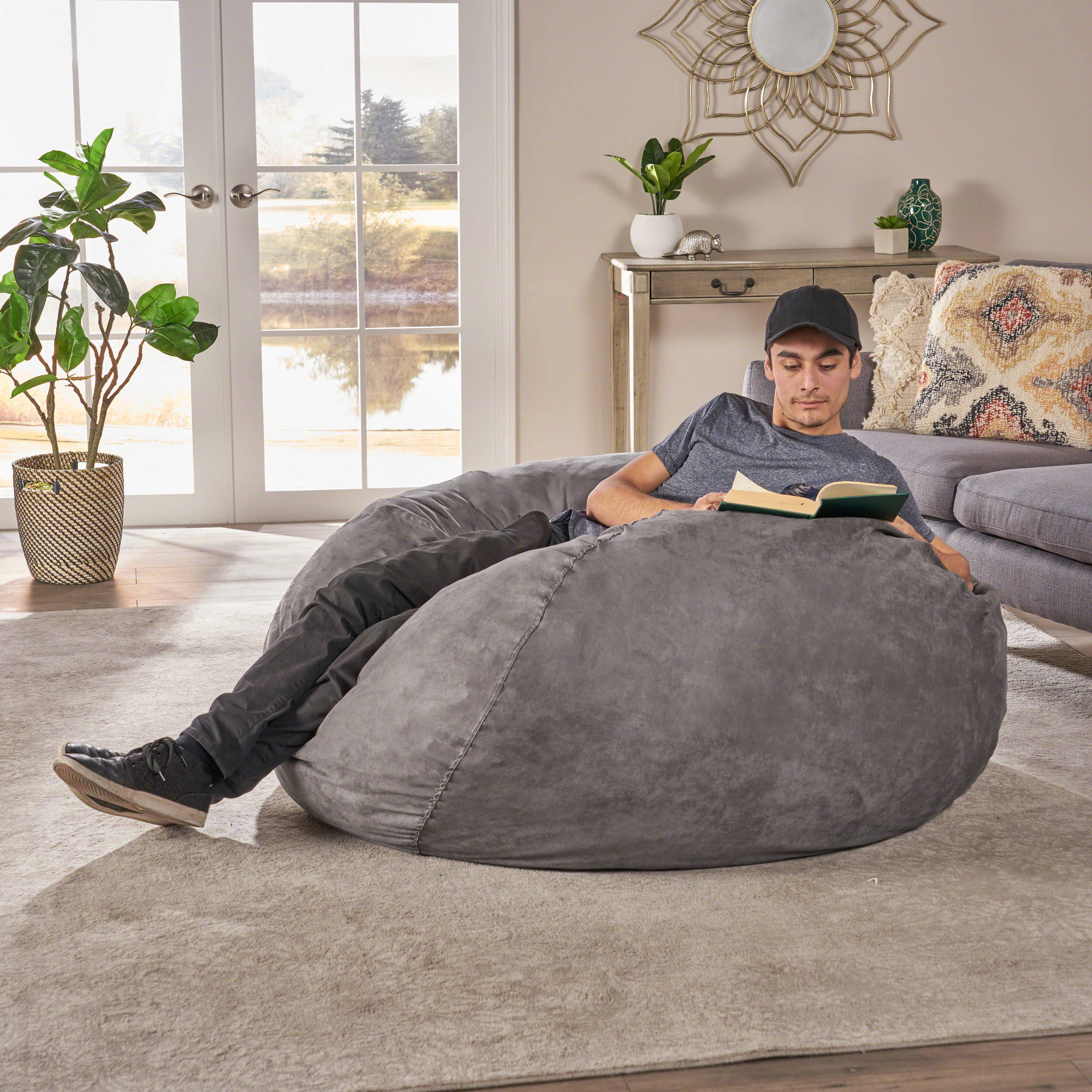 Awesome Noble House Mission Faux Suede 5 Foot Bean Bag Multiple Alphanode Cool Chair Designs And Ideas Alphanodeonline