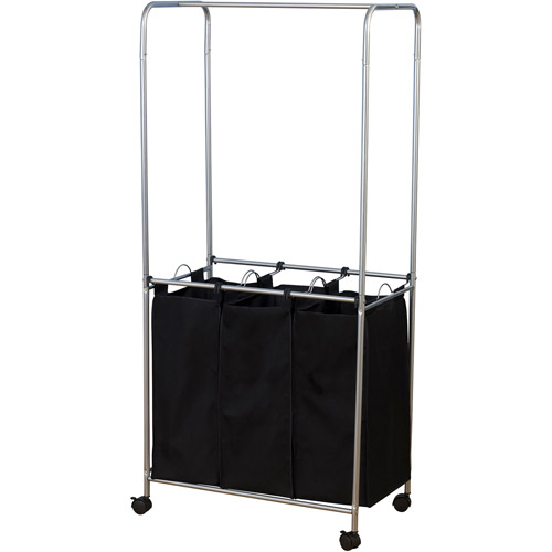 Household Essentials Rolling Triple Sorter Laundry Center with 3 Lift-Out Bags and Hanging Bar