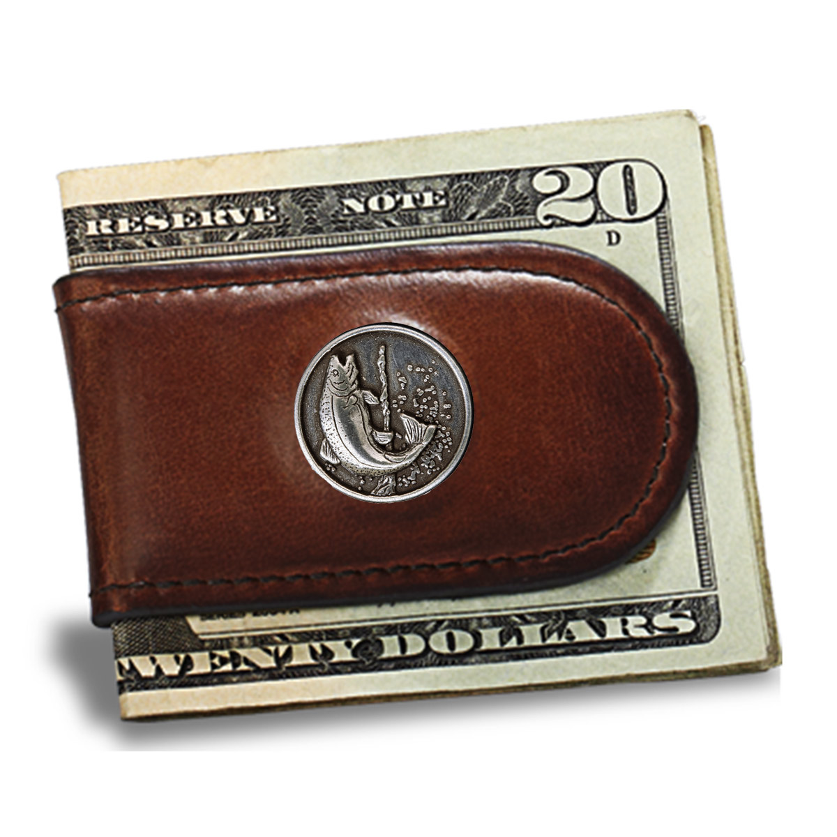 Premium Leather Men's Caramel Brown Money Clip with Trout Concho