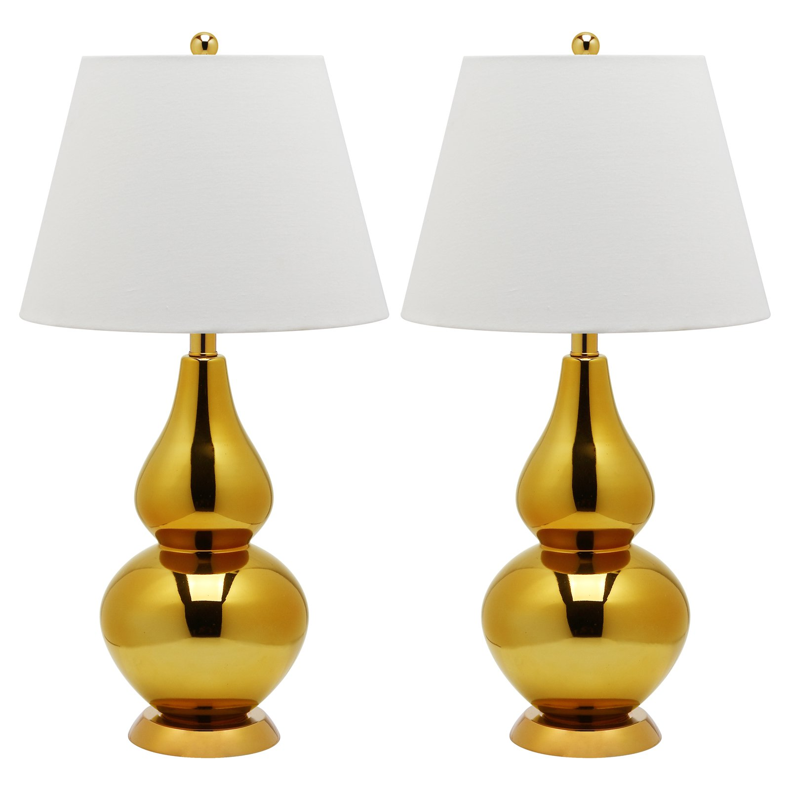 Safavieh Cybil Double-Gourd Lamp with CFL Bulb, Set of 2