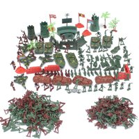TureClos 290pcs Strategy Soldiers Armament Playset Kids Toy 4cm Army Men Base Sand Table Scene Supplies