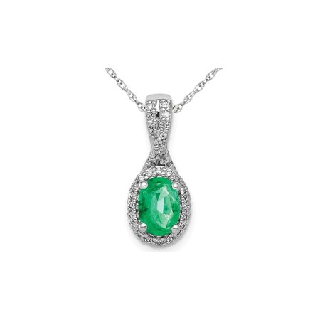 3/4 Carat (ctw) Natural Emerald Halo Twist Pendant Necklace in 14K White Gold with Chain and Diamonds 1/8 Carat (ctw) - image 4 de 4