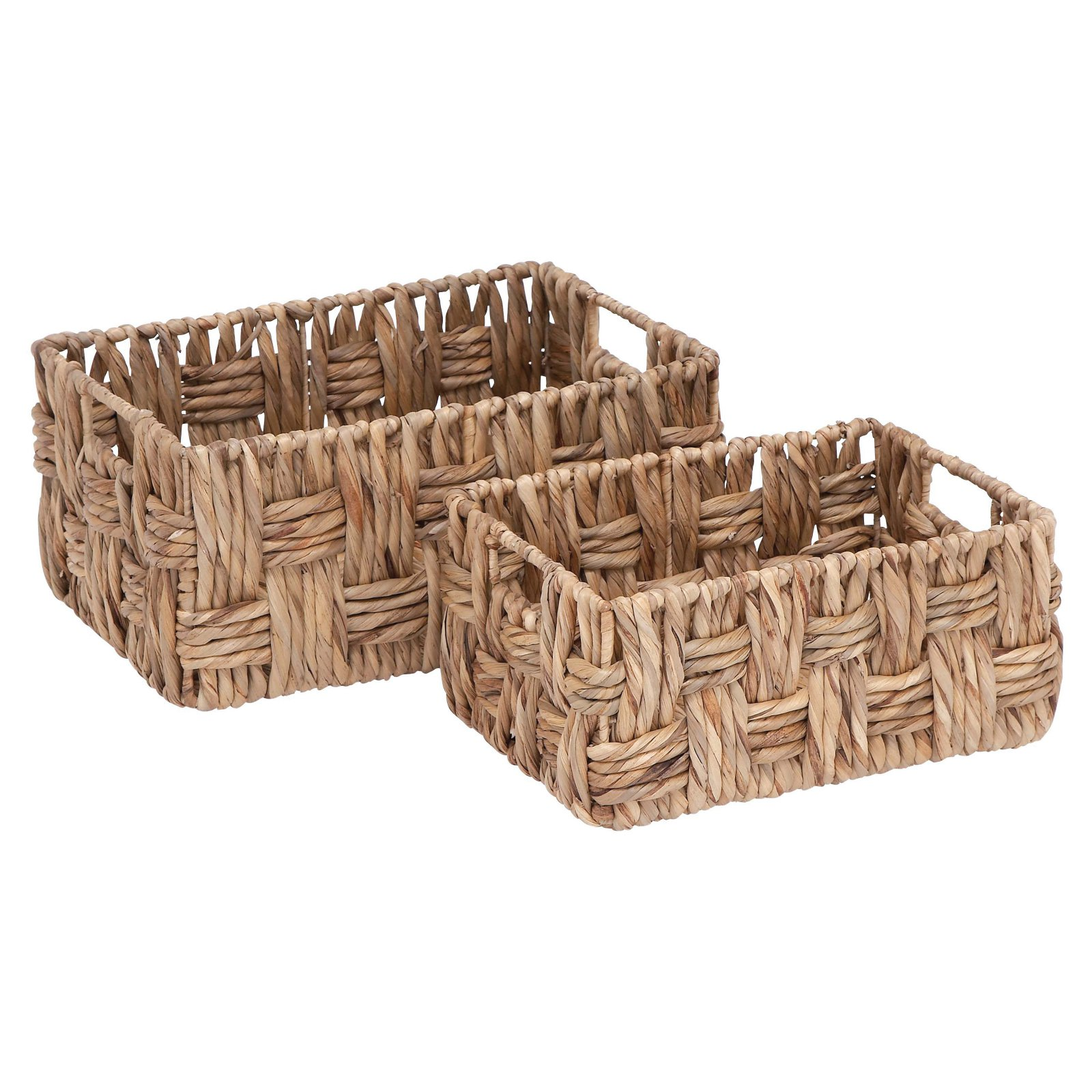 Basket With Wicker Basket Pattern Set Of 2 by Benzara