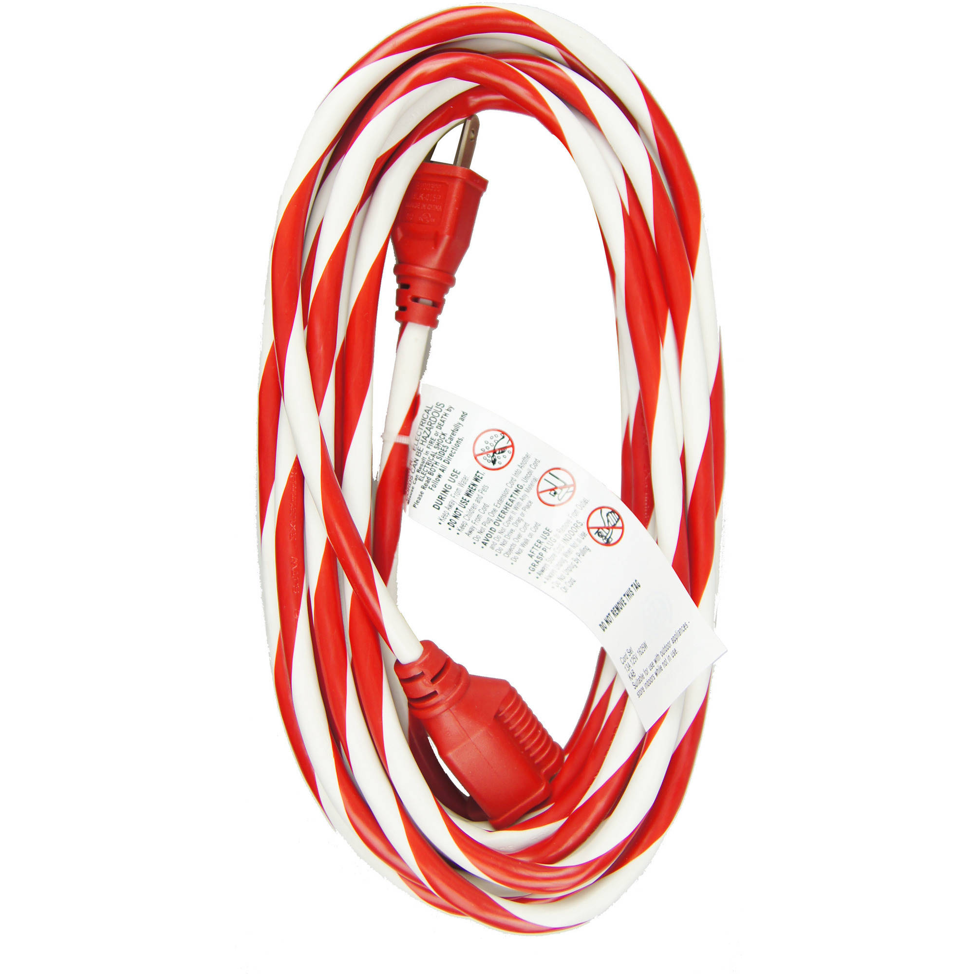 WorkChoice 25' 1-Outlet Outdoor Candy Cane Striped Extension Cord