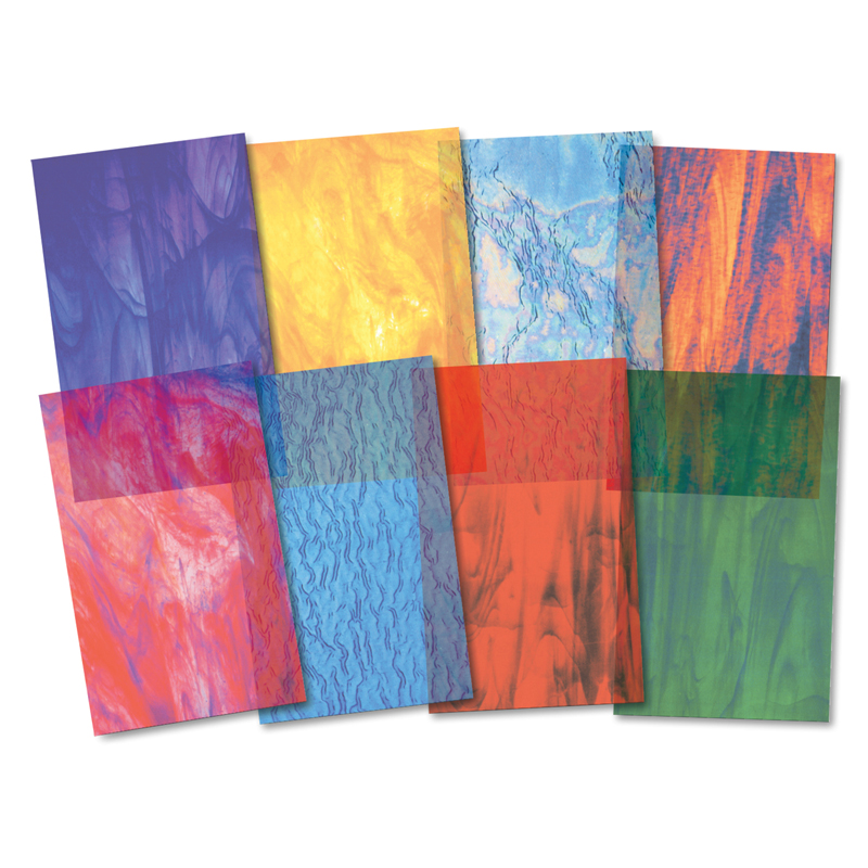"Roylco Stained Glass Pattern Craft Paper, 8.5"" x 11"", Assorted Colors, Pack of 24"