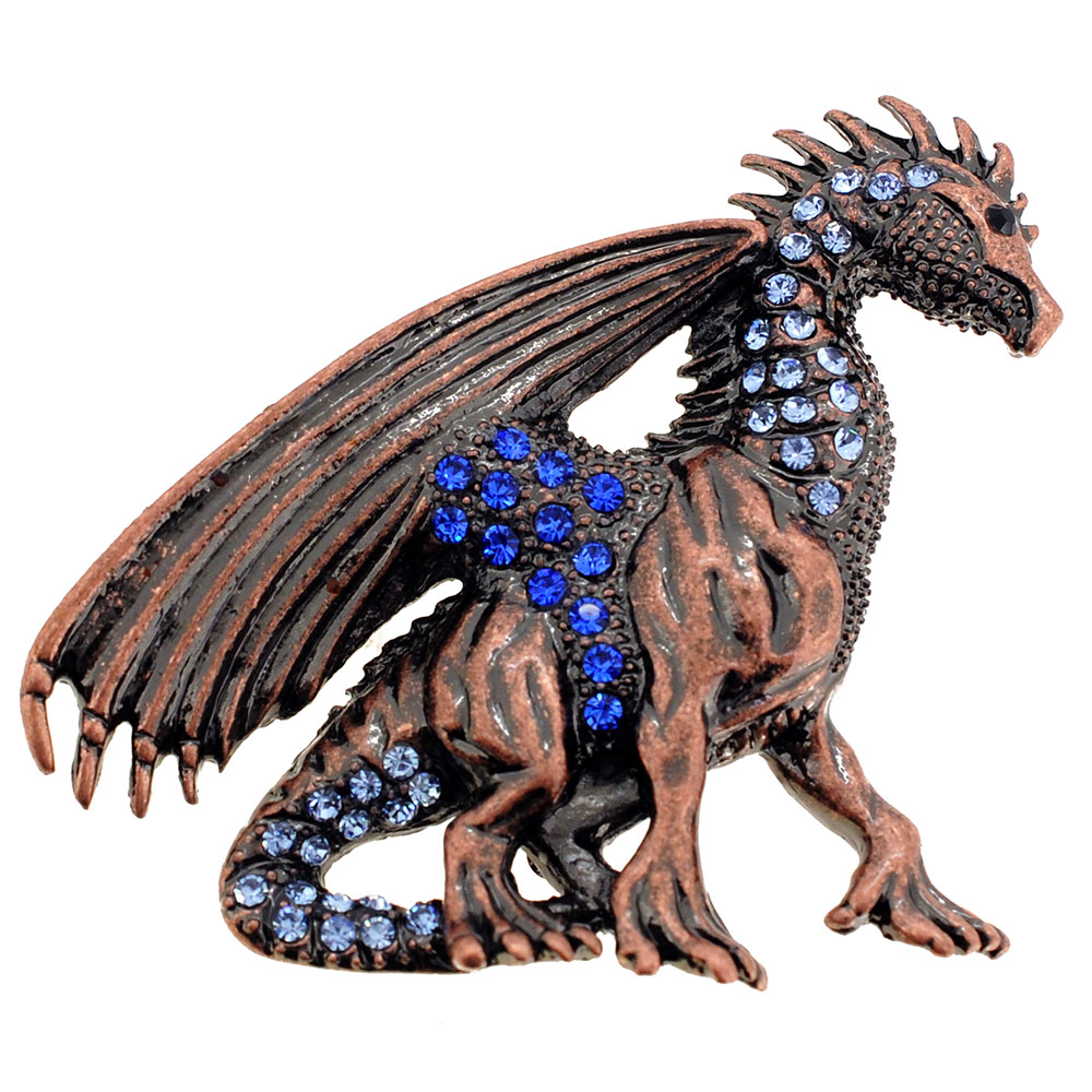 Vintage Style Mythical Flying Dragon Sapphire Crystal Brooch Pin by