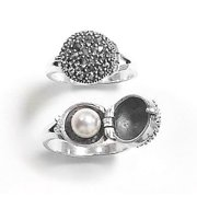 Sterling Silver Marcasite and Hidden Pearl Ring