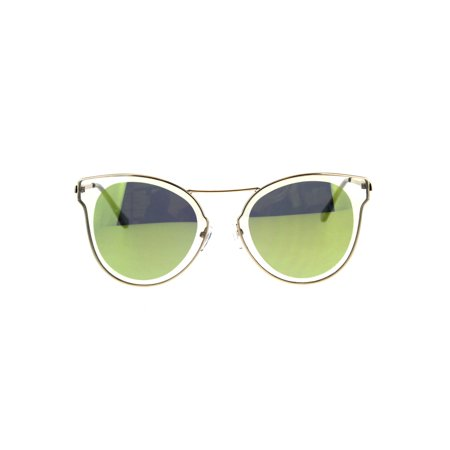Womens Clear Edge Color Mirror Wire Rim Horned Cat Eye Sunglasses Yellow