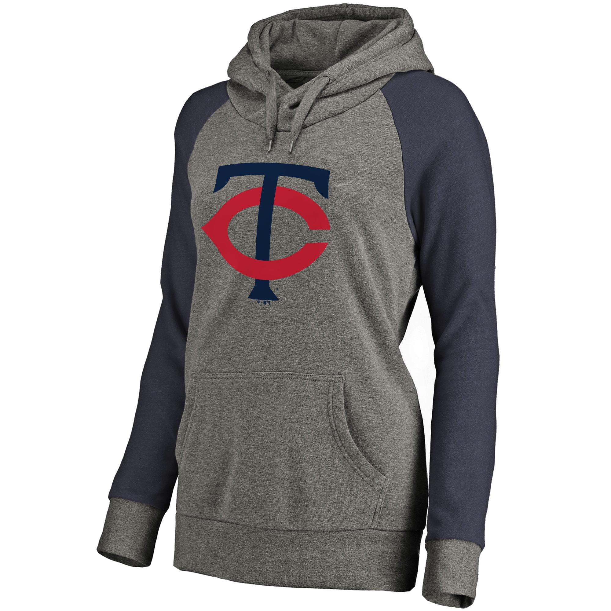 Minnesota Twins Women's Primary Logo Raglan Sleeve Tri-Blend Pullover Hoodie - Ash