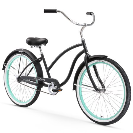 26 firmstrong chief lady single speed beach cruiser women 39 s bicycle matte black w green rims. Black Bedroom Furniture Sets. Home Design Ideas