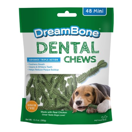 DreamBone Dental Chews with Real Chicken Dog Treats, Mini, 13.4 Oz. (48 Count)