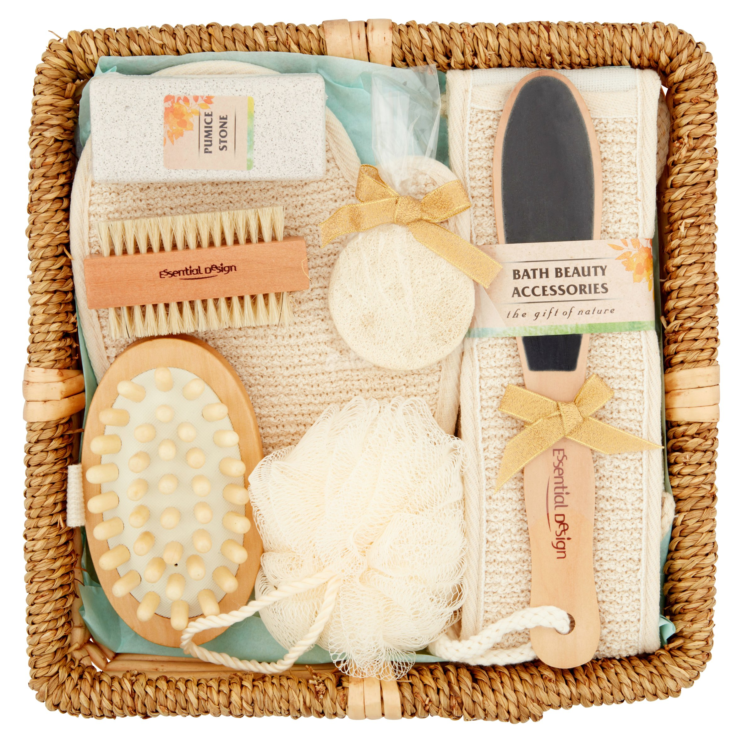 Essential Design Bath Accessories Gift Set in a Wicker Basket, 9pcs by NINGBO CIXI IMP&EXP HOLDINGS COLTD