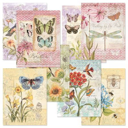 """Field Guides Note Card Value Pack - Set of 16 (8 designs) 4-1/4"""" x 5-1/2"""" blank inside, Graduation Gift, Thank You Card"""