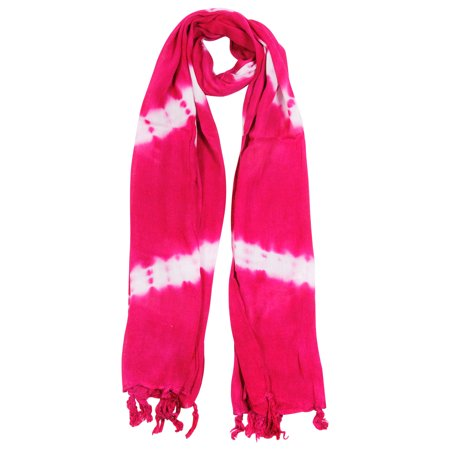 Hijaz Magenta and White Tie-dye Rectangle Women's Hijab Scarf with Tassles