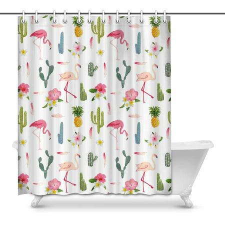 POP Tropical Flamingo Bird and Cactus Bathroom Shower Curtain 60x72 inch - image 1 of 1