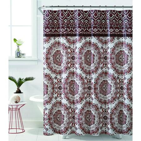 royal bath burgundy mandala burst peva non toxic fabric shower curtain 72 x 72. Black Bedroom Furniture Sets. Home Design Ideas