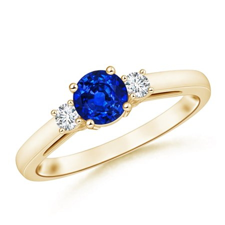 September Birthstone Ring - Round Sapphire & Diamond Three Stone Engagement Ring in 14K Yellow Gold (6mm Blue Sapphire) - SR0655SD-YG-AAAA-6-11.5