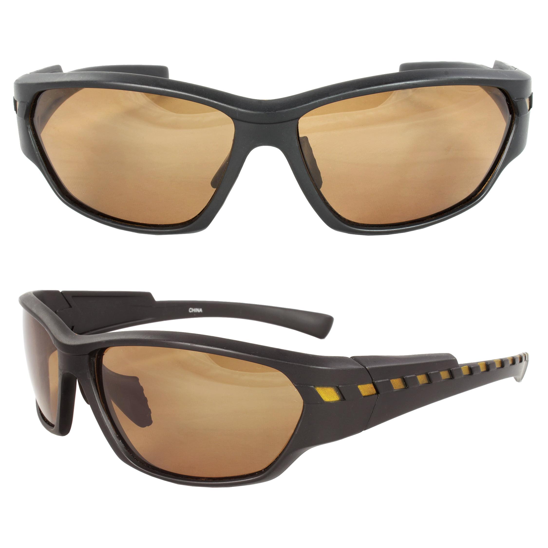 Polarized Wrap Around Fashion Sunglasses Black Brown Frame Black Lenses with Comfortable Rubber Cushion Pad