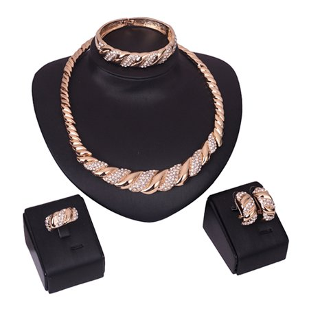 Girl12Queen Luxury Golden Tone Twisted Jewelry Set Necklace Bracelet Ring Earrings Cocktail